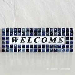モザイクタイルのウェルカムボード 青 300×100