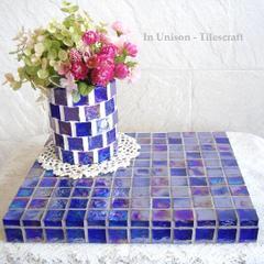 K様オーダー品 ガラスモザイクタイルのディスプレイトレイ 小物置き台 Blue (大)