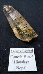 ガネーシュヒマール・クリスタル・ナチュラルポイント18,5G(ゴールデンヒーラー、立方パイライトインクルージョン)ヒマラヤ・ガネーシュヒマール産