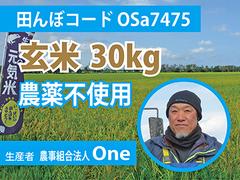 生きもの元気米(農薬不使用)・田んぼOSa7475の玄米30kg コシヒカリ