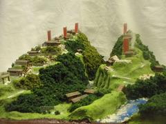 武田の城 要害山城と熊城 お城 ジオラマ 完成品