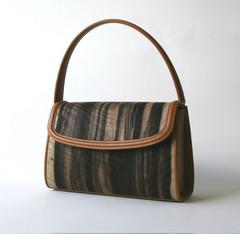 かぶせ型 木のバッグ(中) 黒柿