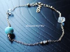 ★惑星宝石ブレス☆本質数6【金星】ダイヤモンド&ラリマー&ハーキマーダイヤモンド☆K14GFチェーンブレスレット