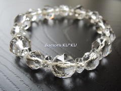 上質の煌めきスターカット水晶内周14cm☆ストレッチブレスレット