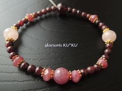 惑星宝石ブレス☆本質数1【太陽】☆ルビー&モルガナイト&ガーネット☆ストレッチブレス