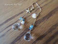 人魚の耳飾りⅠ☆水晶&アクアマリン&淡水パール&ネオンブルーアパタイト☆K14GFピアス