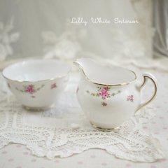 Royal Osborne ロイヤルオズボーン ミニ薔薇のガーランド シュガーボウル&ミルクジャグ セット