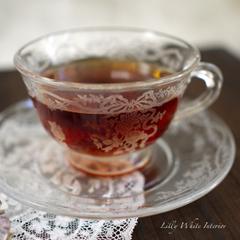 Fostoria フォストリア・ロマンス*エレガントグラス*リボンとお花のカップ&ソーサー