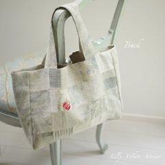 Kate Forman リネンパッチワークのハンドメイドバッグ