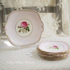 WINDSOR ウインザー エリザベスローズのケーキプレート ピンク