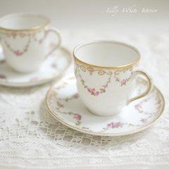 M.REDON リモージュ フランス*薔薇と小花のガーランド*アンティークデミタスカップ&ソーサー