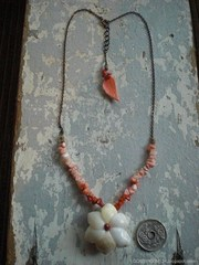 Mini Moon Shell TOP  Coral Necklace
