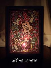 ステンドアートジグソーパズル(ミニーマウス)+ティーライト香りつき1個セット