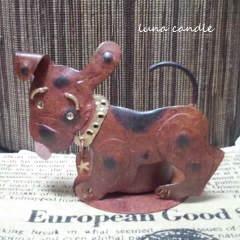 ブリキの犬のティーライトホルダー(茶)+ティーライト香り付き3個セット