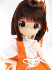 ちっちゃなもこちゃん カフェコスチューム(オレンジ服)赤茶髪