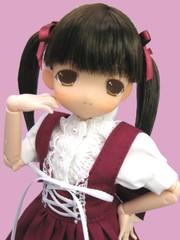 乙女しおり カフェコスチューム(えんじ服)こげ茶髪
