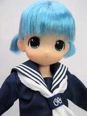 ちっちゃなもこちゃん ミニツーテール(紺セーラー)青髪
