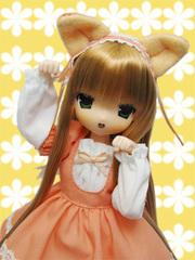 みみる(薄茶髪)ねこワンピ オレンジ