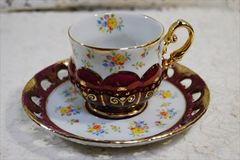 大橋陶器 カップ&ソーサー 花柄透かし有り
