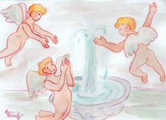 ぽわぽわ天使、噴水にたわむれる*水彩画*ポストカード