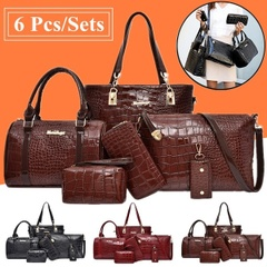 6ピースセット/パテントレザークロコダイルテクスチャレディースハンドバッグ/財布/ハンドバッグ