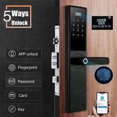 5-in-1セキュリティ電子光学指紋スマートドアロック盗難防止ロックAPPタッチパスワードキーパッドカード指紋