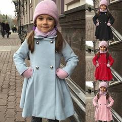女の子ファッション/秋冬ウールコート/子供カジュアルソリッドロングコート/子供のアウタージャケット