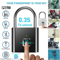 10 Groups Fingerprint Lock Smart Keyless Padlock for Doors Box Bag Waterproof USB Charging Anti-theft Lock