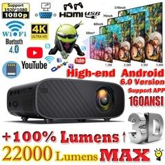 ハイエンド22000プロジェクター:スクリーンプロジェクター3D 1080P HDのホームシアタープロジェクター:ビデオプロジェクターWiFi4.0インチLCDスクリーンプロジェクター