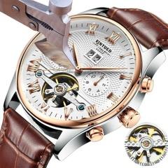 KINYUEDスイスの機械式トゥールビヨン/ブランド腕時計メンズ/ビジネスウォッチ/自動中空機械式ウォッチ