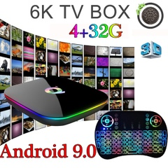 Android 9.0 4GB 32GB Smart TV Box H6 Quad Core 6K Media Player + Free Backlit Keyboard
