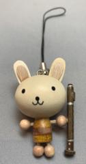 木製ストラップ ウサギ/クマと楽器(全4種)