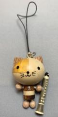 木製ストラップ ネコと楽器(全4種)