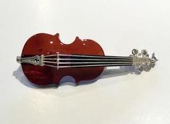 琥珀ブローチ/バイオリン