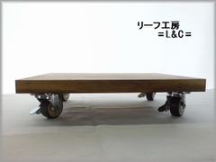 自在キャスター付き 中型スピーカー台 ワックス仕上げ 29