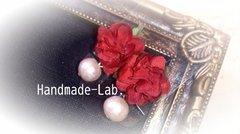 イヤリング*お花とコットンパール(赤)