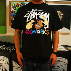 Stussy x Oilworks Tee Ver.2 -Oilworks Color- [BLK/WHT]