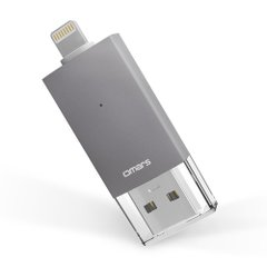 【Apple認証 (Made for iPhone取得)】 Omarsフラッシュドライブ 2 USBメモリコネクタ付きiPhone iPad iPod touchの容量不足解消 (64Gスペースグレイ)