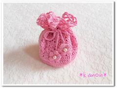 手編みの巾着ポーチ・ピンク