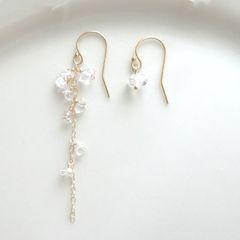 【 K14gf 】リトルダイヤ・ハーキマーダイヤモンドピアスー