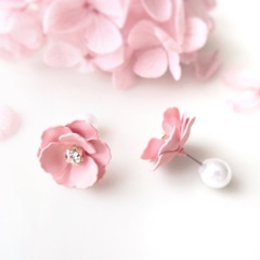 [再販リクエスト可] ミニバラのピアス・ピンク