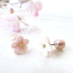 [再販リクエスト可] シェルピアス・桜ピンク