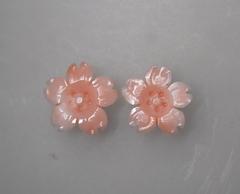 桃サンゴ 桜の花のルースペア251