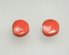 桃サンゴ 9mm平丸ルース ペア