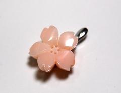 ピンクサンゴ 桜のK14WGペンダント421