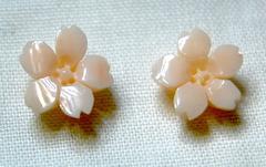 ピンクサンゴ 桜の花のルースペア