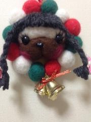 パグのクリスマス羊毛リース(おさげ)