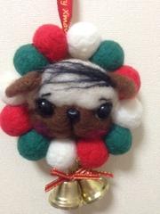パグのクリスマス羊毛リース(バーコード)