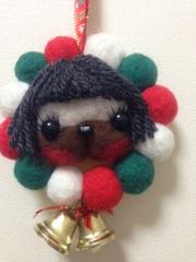 パグのクリスマス羊毛リース(おかっぱ)