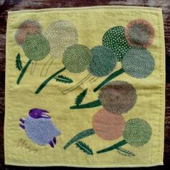 morita MIW モコモコ刺繍のガーゼ&パイルタオルハンカチ<ウサギ><ネコ><ライチョウ>